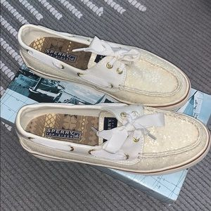 Bahama 2-eye white glitter Sperry shoes